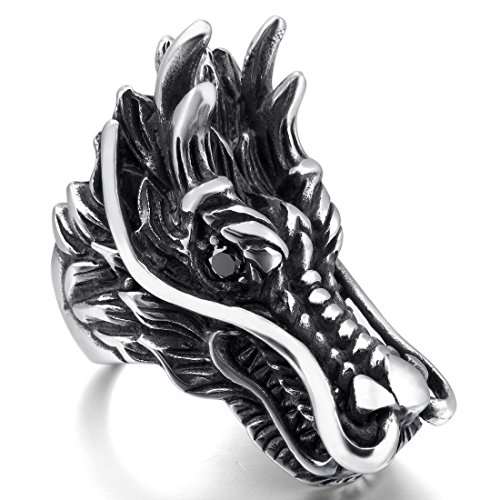 Silver Tone Black Agate (INBLUE Men's Stainless Steel Ring Simulated Agate Silver Tone Black Dragon Size11)