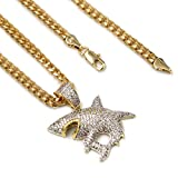 Raonhazae Hip hop Iced Out Micro Pave SHARK Pendant W 5mm 24''/30'' Cuban Chain (Gold, 24)