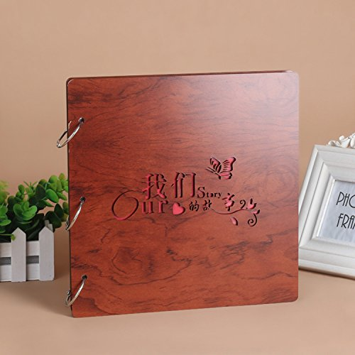 DIY Scrapbook, 16 Inch Wooden Cover Photo Album, Anniversary Memory Book, Wedding Guest Book, Gift (Our Story)
