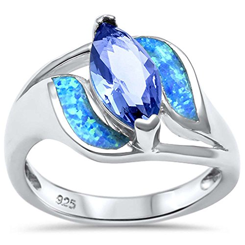 (Sterling Silver Lab Created Blue Opal Tanzanite Ring Sizes 5)