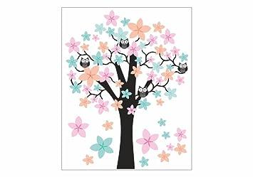 nikima - 062 Wandtattoo Wandbild Kinderzimmer Baum mit Eulen ...
