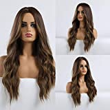 HAIRCUBE Long Hair Wigs for Women Ombre Brown