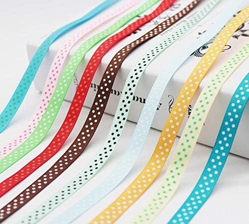 LZDD 最大のコレクションは3/8インチ(9MM / 10ミリメートル/ 1センチメートル)水玉プリントグログランリボンECOフレンドリーのためにDIY女の子はHairbows 30colors (Color : Azalea)
