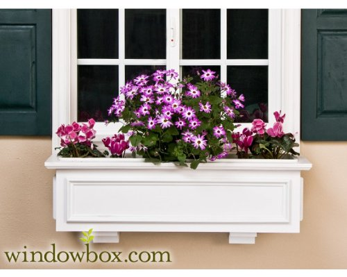 24 Inch XL Paloma Premier No Rot PVC Composite Flower Window Box w/ 2 Decorative Brackets by Windowbox