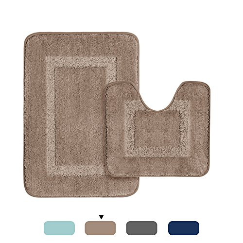 H.VERSAILTEX Microfiber Bathroom Contour Rugs Combo Set of 2 Soft Shaggy Non Slip Bath Mat and U-shaped Toilet Floor Rug (Taupe 2 Pack, 20
