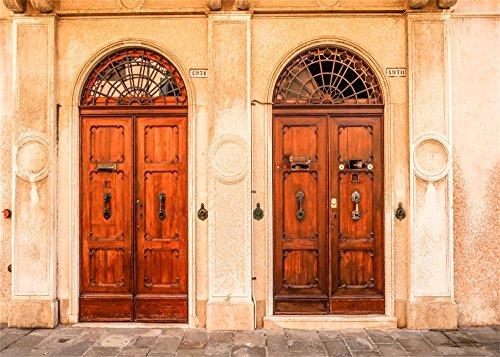 (Leowefowa Vinyl 7X5FT European Old Church Front Door Scene Backdrop Vintage Arch Wood Door Shabby Concrete Wall Rustic Brick Floor Nature Photography Background Kids Adults Photo Studio Props)