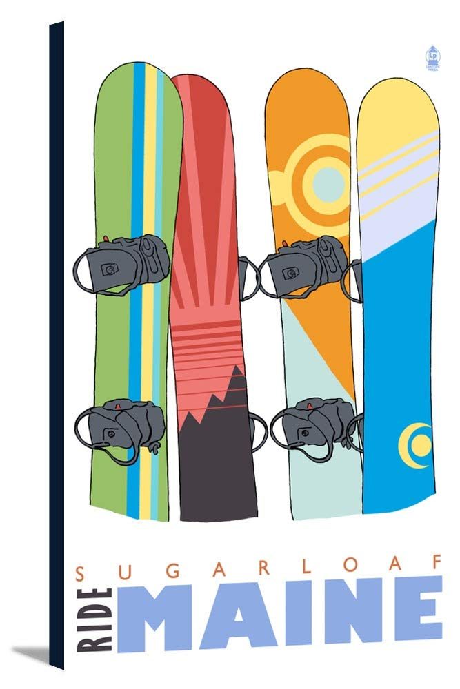 Snowboardsで雪 – Sugarloaf、メイン州 16 x 24 Gallery Canvas LANT-3P-SC-26158-16x24 B01843K32E  16 x 24 Gallery Canvas