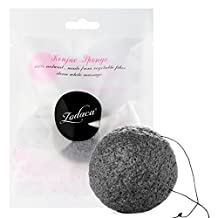 Zodaca Konjac Sponge 100% All Natural Skincare Facial Sponge Cleanser for Scrubbing and Exfoliating Perfect For Delicate and Sensitive Skin, Charcoal Dry