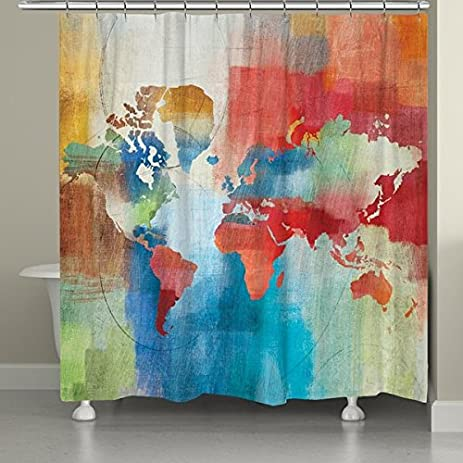 Amazon colorful world map shower curtain home kitchen colorful world map shower curtain gumiabroncs Image collections