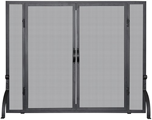Uniflame S-1044 Single Panel Wrought Iron Screen with Doors, Medium