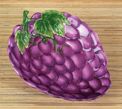 [Grapes Dish Collectible Fruit Ceramic Glass Kitchen Platter Plate] (Grape Glass Platter)