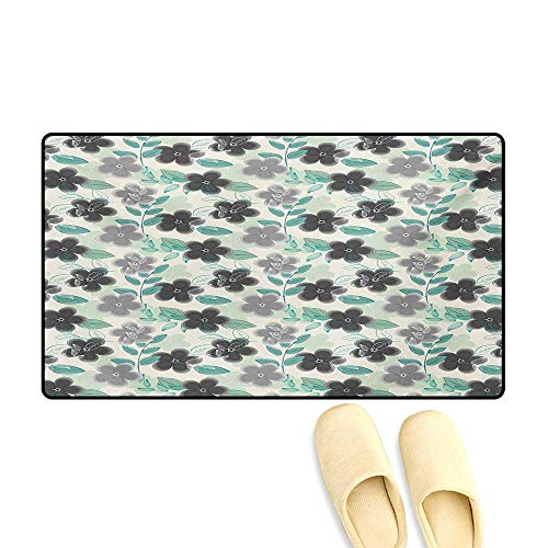 - Door-mat,Abstract Nostalgia Pattern with Retro Blooms and Leaves Romantic,Bath Mats for Floors,Mint Green Grey Charcoal Grey,16