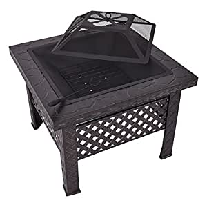 "Square 26"" Outdoor Metal Fire Pit Backyard Black Patio Stove w/ Poker & Safety Mesh Cover"