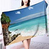 Cotton Extra-absorbent Bath Towels Tropical beach with rocks and blue sea of Bali island,Indonesia Odor Resistant L55.1 x W27.5 INCH