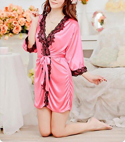 Con Manica Lingerie Kimono Pizzo Mezza Giovane Corti Da Scollo Donna Cintura Grazioso Vestaglia Raso Notte Camicia Rosso V Accappatoio In Pigiami Women 8z0Tw