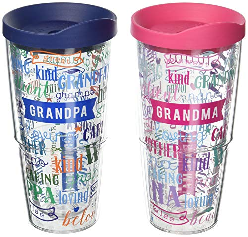 Tervis 1223948 Definition of Grandma and Grandpa Tumbler with Assorted and Assorted Lid 2 Pack 24oz, Clear ()