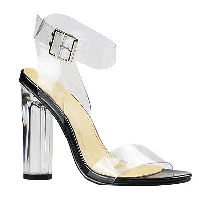319f4af17be Amazon.com   Women's Transparent Sandal Ankle Cross Strap Adjustable ...