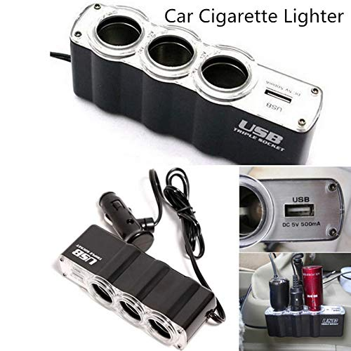 Triple Socket Splitter Cigarette Lighter Adapter Plug + USB Port 3 Port Car Charger Sockets USB Plug Extender Splitter DC 12V/24V (Black)