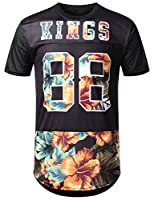 URBANCREWS Men's Hipster Hip Hop Graphic Print Mesh Trim Longline Jersey T-Shirt