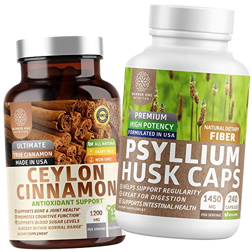N1N Premium Psyllium Husk Capsules and Organic Ceylon Cinnamon, All Natural Supplements for Healthy Digestion and Blood…