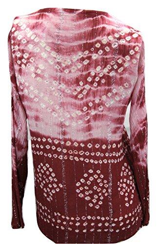 Bandhej gemustert Baumwolle mit Rosa Bandhani Spiegeldetails handgefertigt Goethnic Langärmeliges Braun Oberteil RXY5xTgq