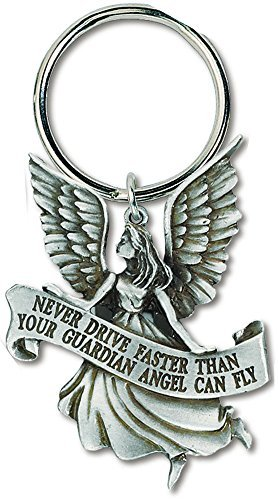 Never Drive Faster Than Your Guardian Angel Fly Pewter Silver Keyring For Auto