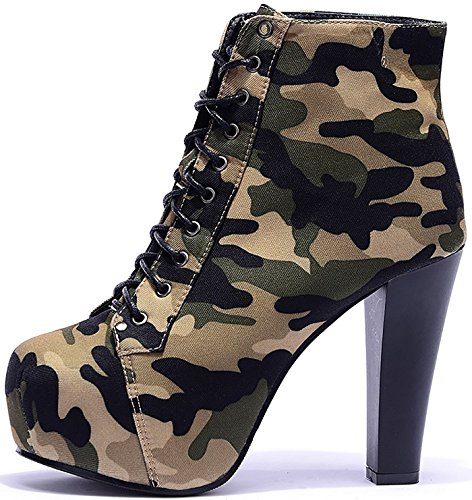 Lazutom Women Sexy Lady Lace up Camouflage High Heel Chunky Ankle Booties Armygreen