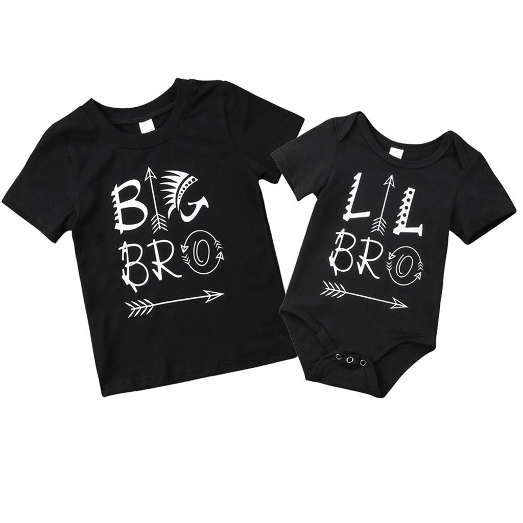 ❤️Baby Boy Clothes,6 Months-4 Years Baby Boy Brothers Ha Yi Romper Letter Short Sleeve Bodysuit Tops Matching Clothes Black