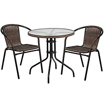 Flash Furniture 28'' Round Glass Metal Table with Dark Brown Rattan Edging and 2 Dark Brown Rattan Stack Chairs - Table and Chair Set Set Includes Table and 2 Chairs Designed for Indoor and Outdoor Use - patio-furniture, patio, conversation-sets - 511ooNhT%2BeL. SS400  -