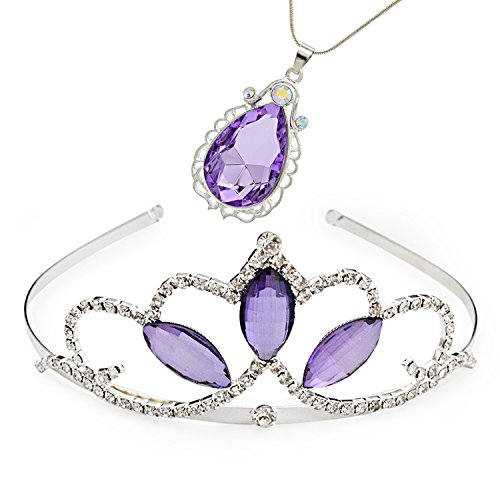VINJEWELRY Princess Crown Sofia The First Tiara and Magic Amulet & Princess Waterdrop Pendant Necklace for Girls Perfect Birthday