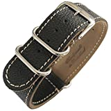 Fluco 2-Piece MoD G10 22mm Black Leather Watch Strap