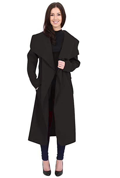 2eb931a0292 MINNI ROSSA Womens Ladies Italian Trench Long Coat Waterfall Duster Cape  Belted Cardigan Jacket Plus Size UK  Amazon.co.uk  Clothing