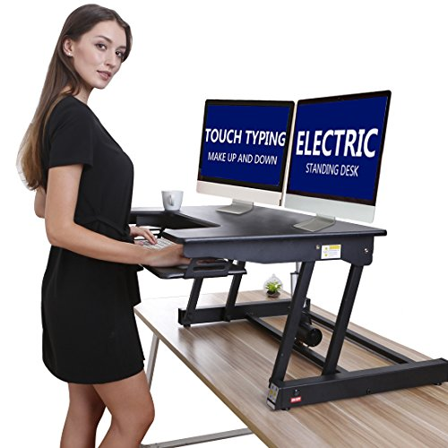 Electric Height Adjustable Sit Stand Desk Converter For Dual Monitor, Separate Keyboard & Mouse by LAMURO (Image #1)