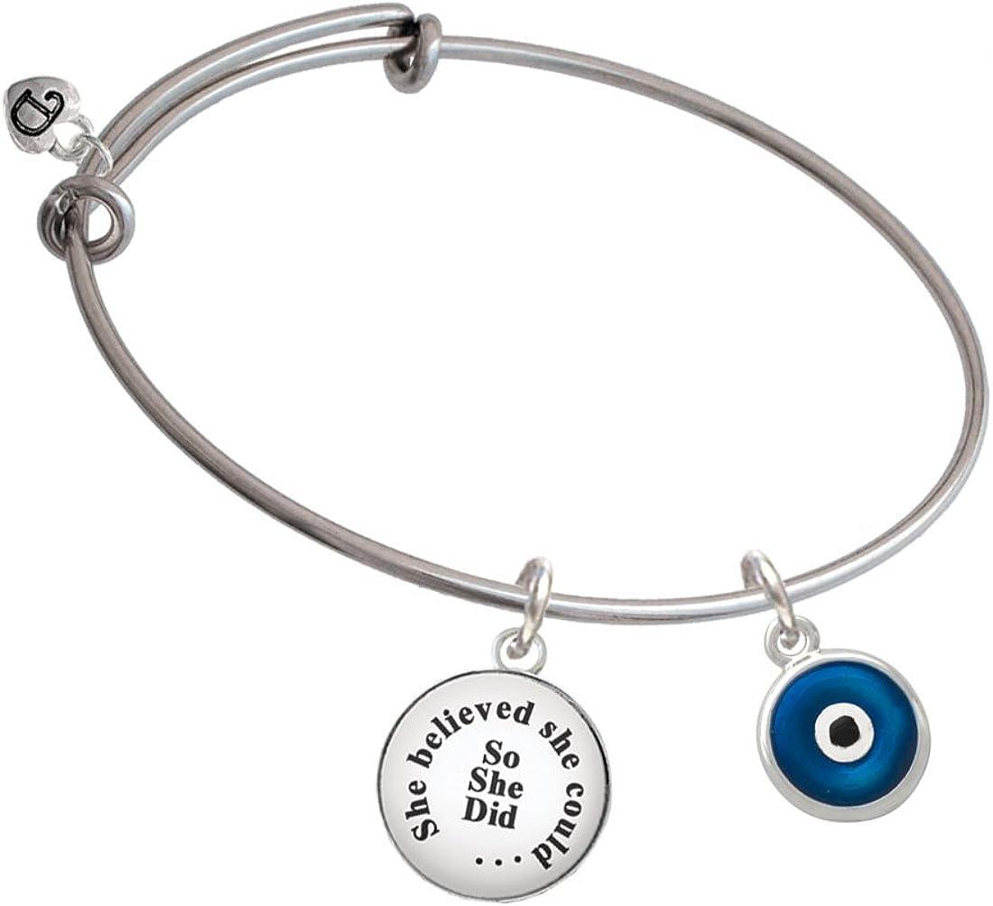 Delight Jewelry Silvertone Blue Evil Eye Good Luck She Believed She Could Bangle Bracelet
