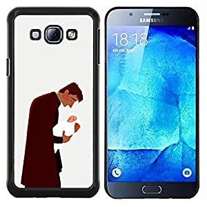 KLONGSHOP // Cubierta de piel con cierre a presión Shell trasero duro de goma Protección Caso - Hombre del bebé del niño del padre de la familia del arte del amor - Samsung Galaxy A8 A8000 //