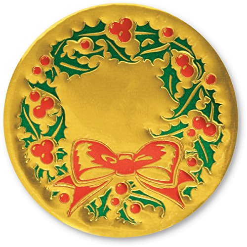 (Embossed Green Holly Wreath, Red Berries and Bow Gold Foil Holiday Seals, 1 1/4 Inches, 48 Count)