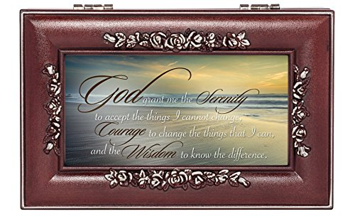 Serenity Prayer Ocean Waves Rose Wood Finish Jewelry Music Box Plays You are My Sunshine