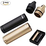 Outdoor Family Survival Waterproof Capsule Pill Holder EDC Container(2 Pack),Large Capacity 141mm Aluminum Dry Storage Box Airtight Bottle Emergency Kit Camping Essentials by CLINE (Gift Pack)