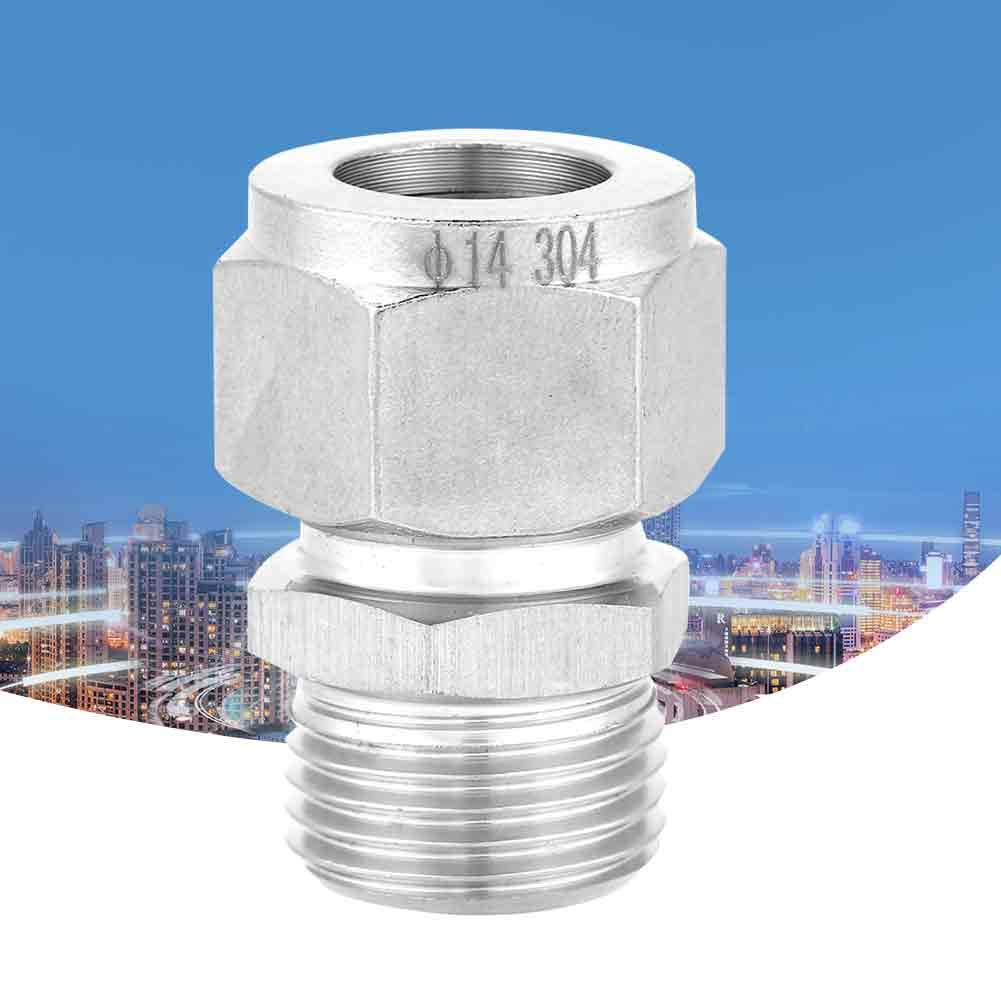 Gas and Other Non-Corrosive or Corrosive Medium Water Tube OD x NPT Male Compression Tube Fitting Connector Equal Straight Adapter Made of Stainless Steel for Oil G1//2-/Φ14