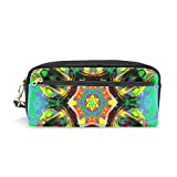 DNOVING Pencil Case Stylish Print Chakra Art Heart Healing Blue Yellow Meditation Art Pattern Large Capacity Pen Bag Makeup Pouch Durable Students Stationery Two Pockets with Double Zipper