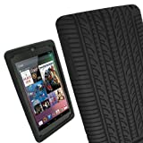 iGadgitz Black Silicone Skin Case Cover with Tyre Tread Design for Google Nexus 7 2012 1st Generation Android 4.1 Tablet 8GB 16GB + Screen Protector (NOT suitable for the 2nd Generation released August 2013)