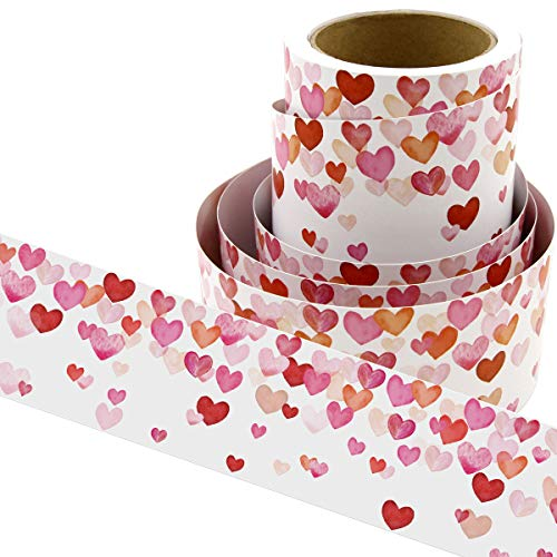 Water Color Heart Bulletin Board Borders Confetti-Themed for Valentine's Day Classroom Decoration 36ft -