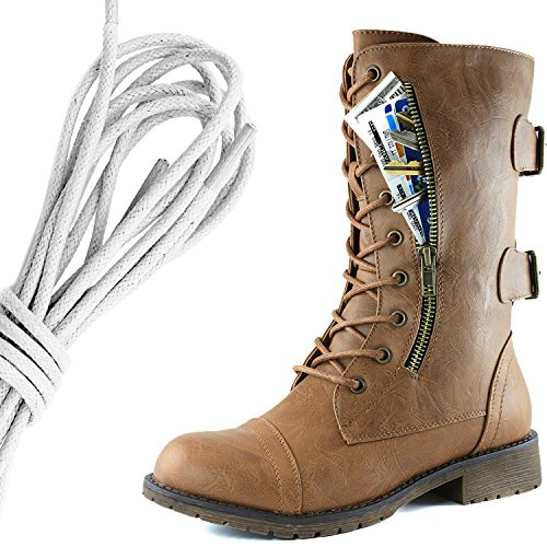DailyShoes Womens Military Lace Up Buckle Combat Boots Mid Knee High Exclusive Credit Card Pocket, Ivory Slim Tan