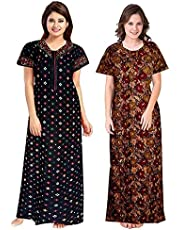 Shoppio India Women's Jaipuri Printed Soft 100% Cotton Indian Nighty For Women & Nightgowns For Ladies Cotton Nighties XL Night Dress Pack Of 2 - MultiColor