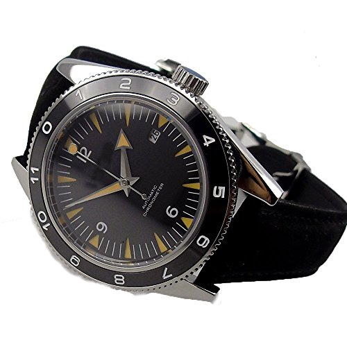 DEBERT 41MM Black Dial Sapphire Crystal Ceramic Bezel Miyota Automatic Movement Men's Wrist Watches ()