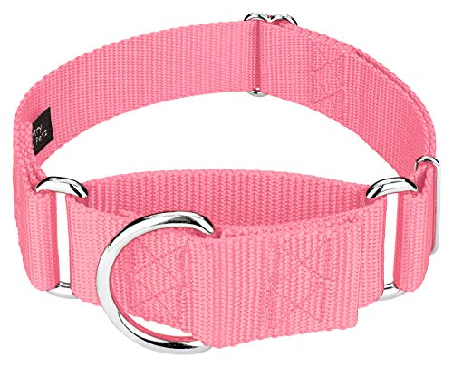 Martingale Collar Nylon - Country Brook Design | 1 1/2 Inch Martingale Nylon Dog Collar - Pink - Medium