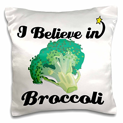 OneMtoss Decorative Silk Pillow Cover I Believe in Broccoli 22X22 Inch ()