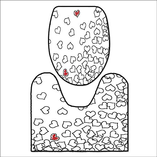 qianhehome Washable Non Slip Bath Mats and Rug Heart Shapes Illustration Love You Bridal Wedding His and Hers Themed Picture Print Black White Red. Sets for Toilet matL20 x W16-W18 x H19