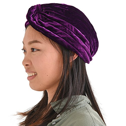 (Womens Fortune Teller Turban - Gypsy Vintage Costume Accessories Mens Genie Velvet Boho Twist Hat Festival)