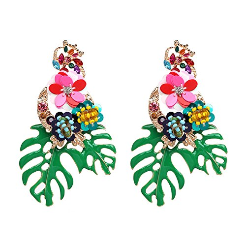 Lureme Gorgeous Colorful Sequin Flower Floral Leaf Stud Earrings for Women and Girls (er006023-3)